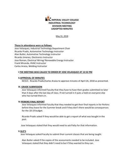 Industrial Tech Dept Meeting Minutes 5-31-18