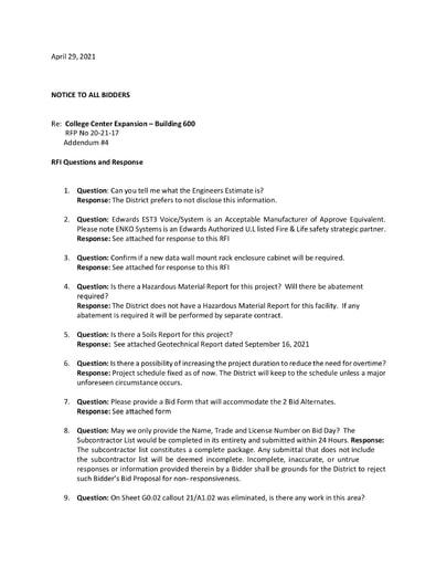 Addendum #4: RFI Responses