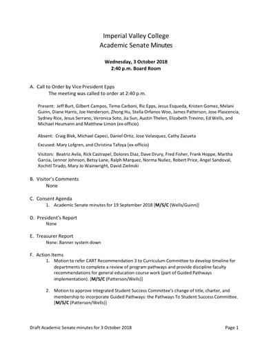 Academic Senate minutes 2018-10-03