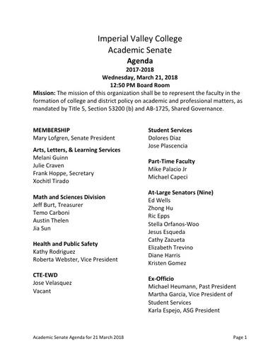 Agenda Academic Senate 2018-03-21
