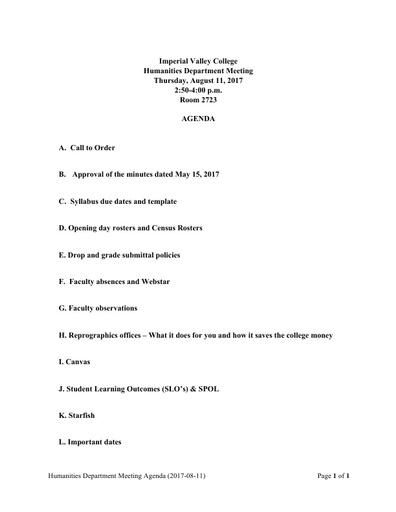 Agenda Humanities Department Meeting Full Time Orientation 2017 08 11
