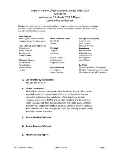 Academic Senate agenda 2020 03 25