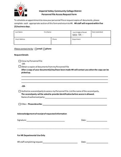 Personnel File Review Request Form
