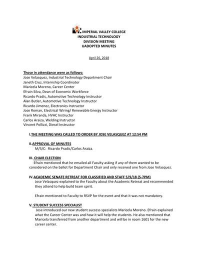 Industrial Tech Dept Meeting Minutes 4-26-18