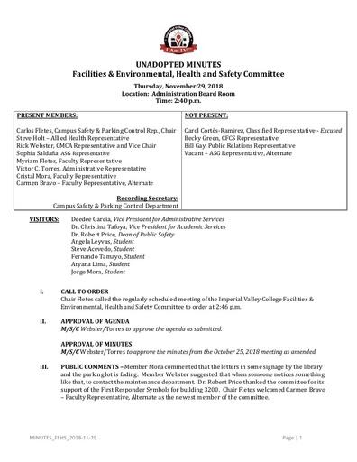 Minutes FEHSC 2018 11 29