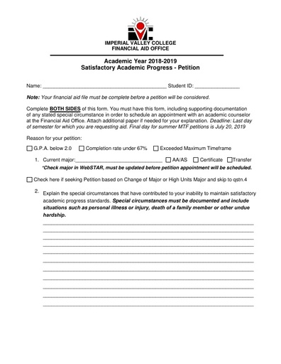2018-19 SAP Petition Form