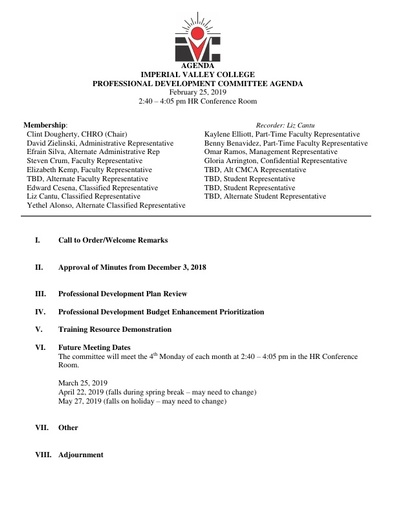 2019 February Professional Development Committee Agenda