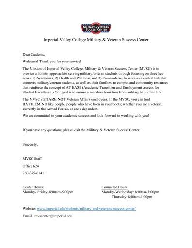 Military & Veteran Success Center Student Handbook