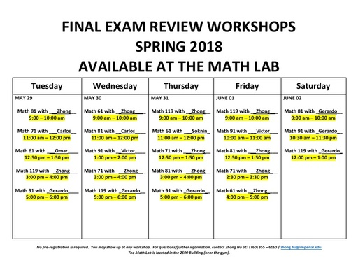 Math Lab Final Review Workshops Spring 2018