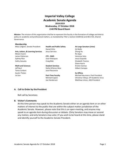 Academic Senate agenda 2018-10-17
