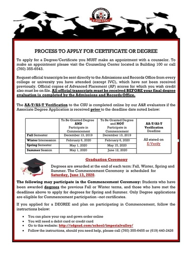 Process to Apply for Certificate or Degree 2019-2020