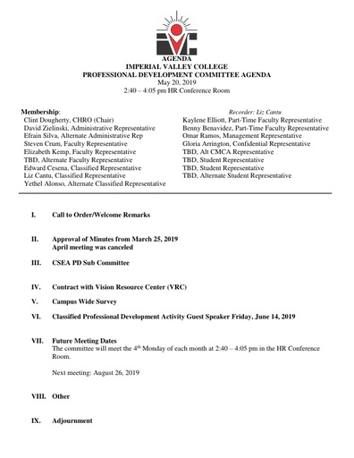 2019 May Professional Development Committee Agenda