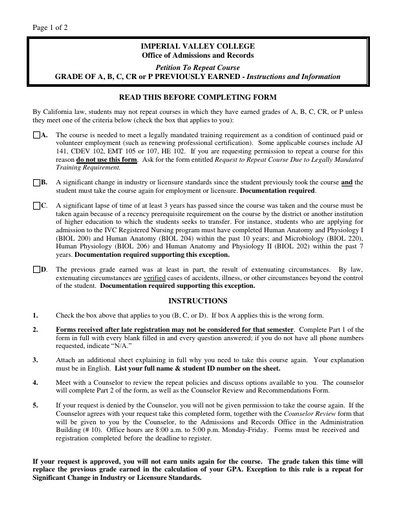 Repeat Petition Form Grade of A, B, C, CR or P Previously Earned.