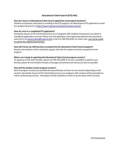 2020-03-16 - Talent Search FAQ