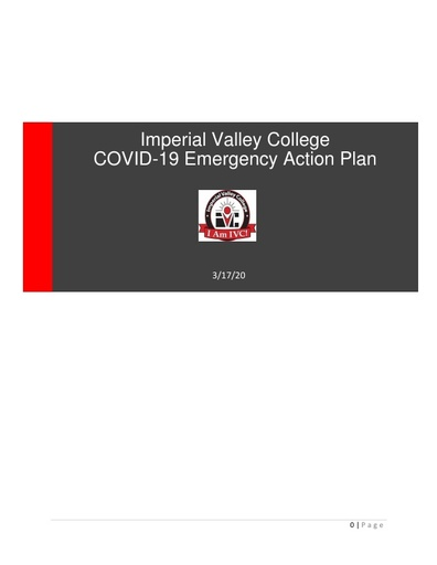 2020-03-19 Coronavirus (COVID 19) Emergency Action Plan