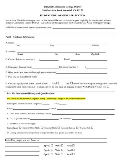 Student Employment Application