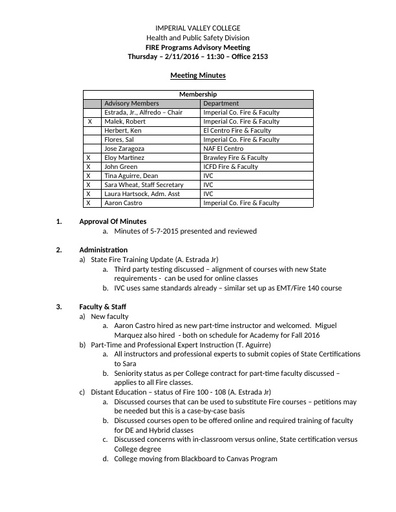 2016-02-11 Fire Technology Program Advisory Committee Minutes