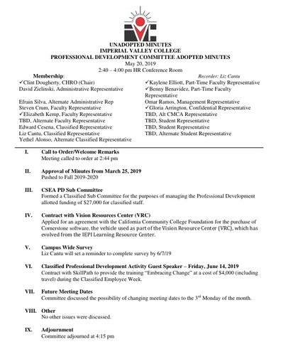 2019 May Professional Development Committee Adopted Minutes