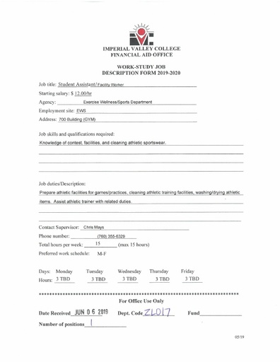 Student Assistant-Facility Worker-Exercise Wellness Sports Department