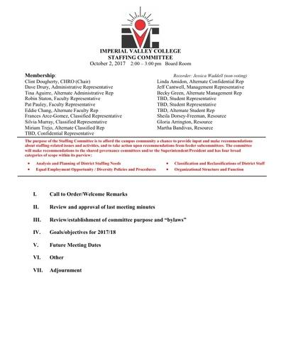 EEO & Diversity Advisory Committee Agenda 10/02/17