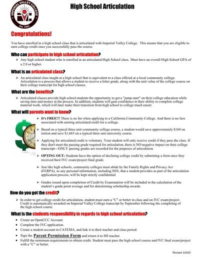 Credit by Exam Student Enrollment Checklist