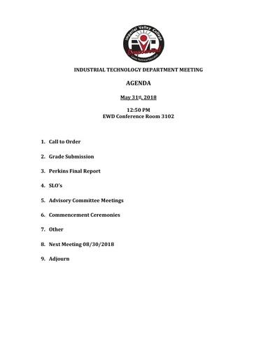 Industrial Tech Agenda 5-31-18