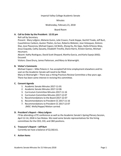 Minutes Academic Senate 2018-02-21