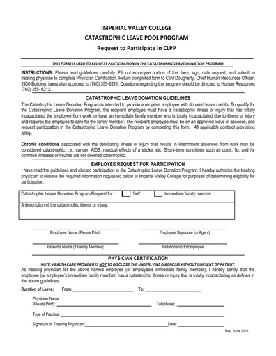 Catastrophic Leave Pool Program- Request to Participate in CLPP