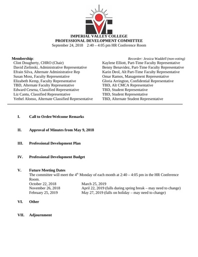 Professional Development Committee Agenda 09 24 18