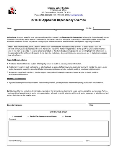 2018-19 Appeal for Dependency Override