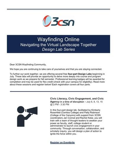 Wayfinding Online Navigating the Virtual Landscape Together Design Lab Series Starts July 6