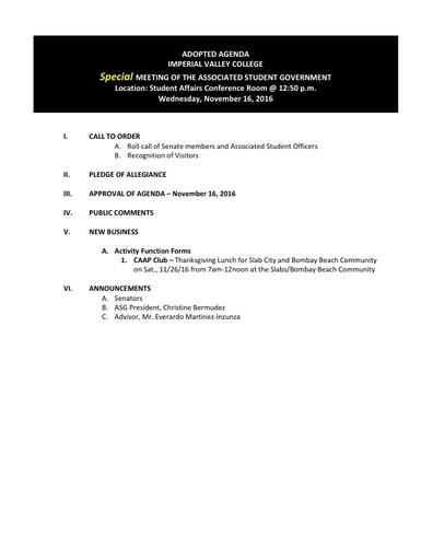 Agenda ASG 2016 11 16 Special Mtg