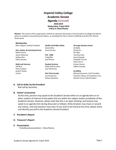 Academic Senate agenda 2019 04 03
