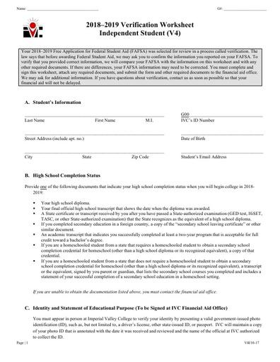 V4 Ind Verification Worksheet 18-19