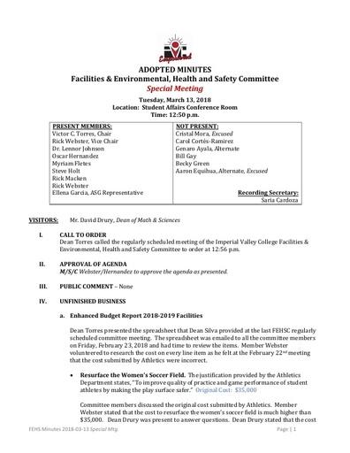 Minutes FEHSC 2018 03 13 Special Mtg