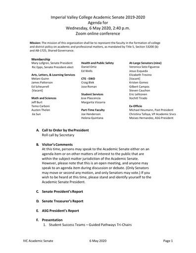 Academic Senate agenda 2020 05 06