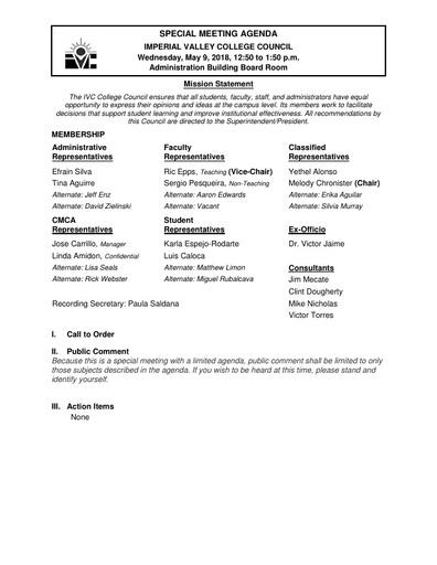 Agenda College Council 2018-05-09