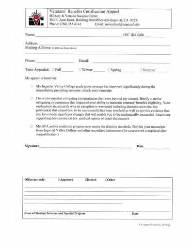 Veterans' Benefits Certification Appeal Form