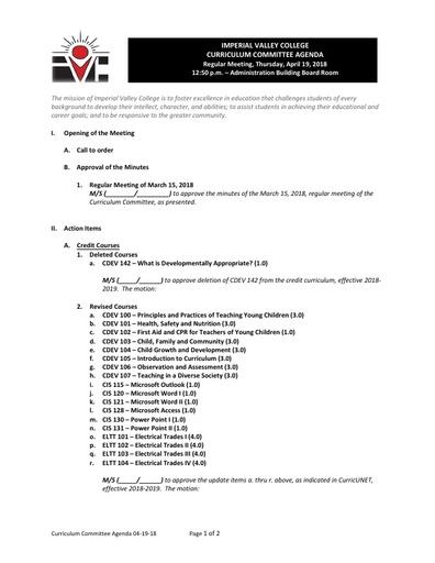 Agenda Curriculum 2018-04-19