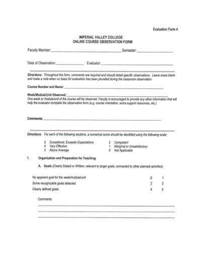 Part-Time Faculty Evaluation Form 4