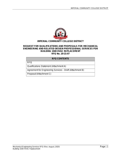 RFQ No. 20-21-07 HVAC Replacement Mechanical Engineer (Building 1500)