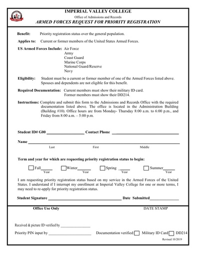 Request Form - Armed Forces Priority Registration Request
