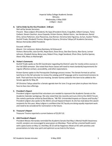 Academic Senate minutes 2020 05 06