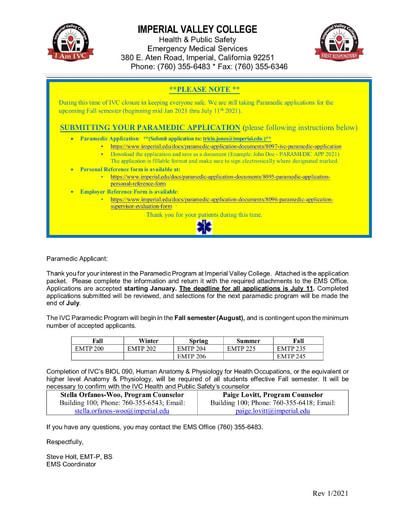 IVC Paramedic Application