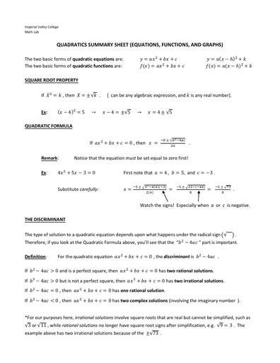 IVC factsheet quadratics