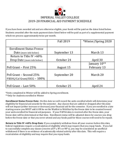 1920 Payment Schedule