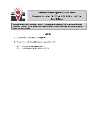 Agenda Enrollment Management Task Force 2018 10 30