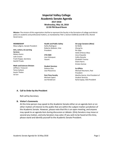 Agenda Academic Senate 2018-05-16