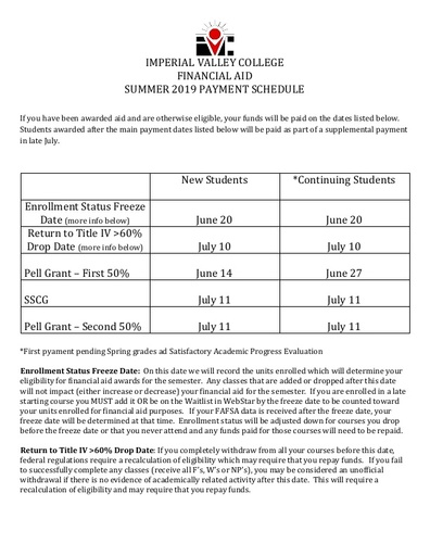 1819 Summer Payment Schedule