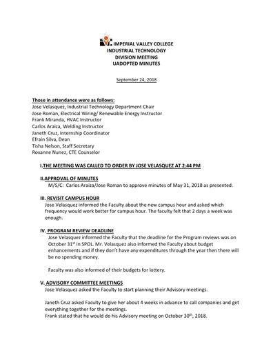 Industrial Tech Dept Meeting Minutes 9-24-18